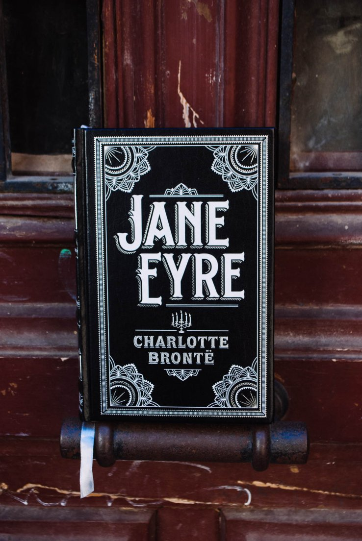 Front view of Jane Eyre by Charlotte Brontë, published in Barnes and Noble Leatherbound Classics collection, cover design by Jo Obarowski
