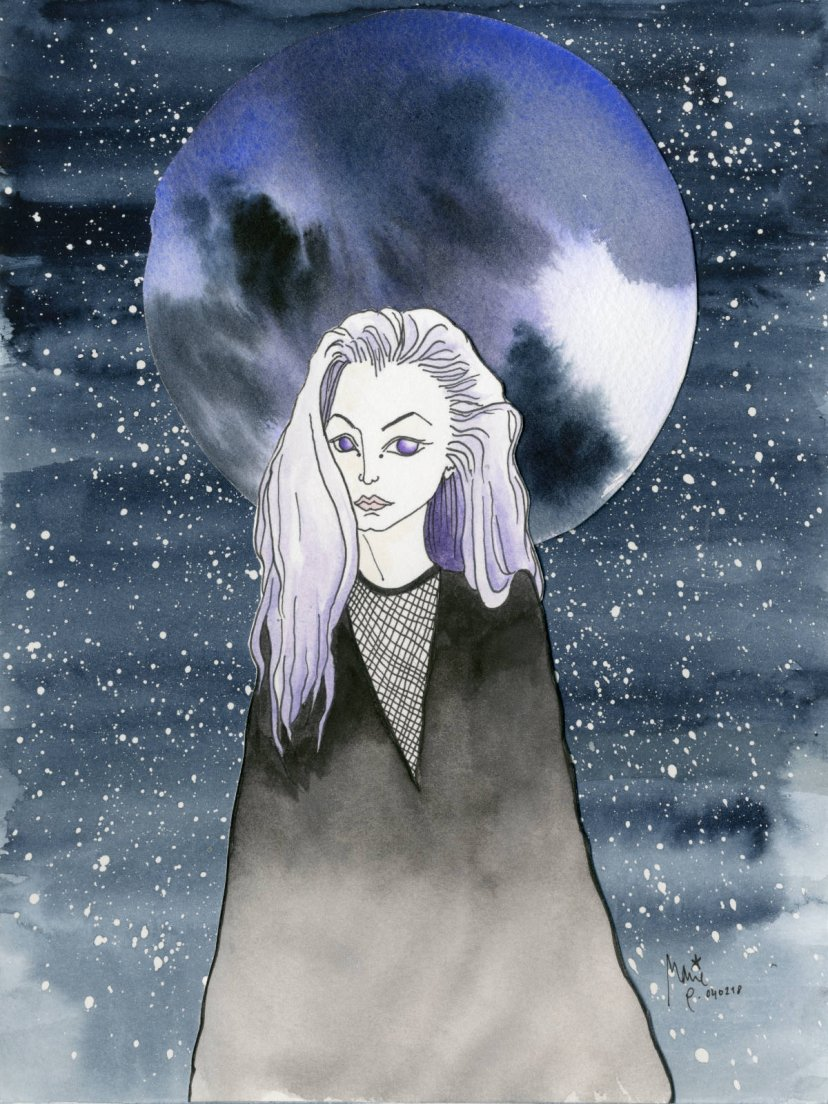 Original watercolour and probably ink illustration by kReEsTaL depicting a white woman with purple hair in front of a wide blue moon