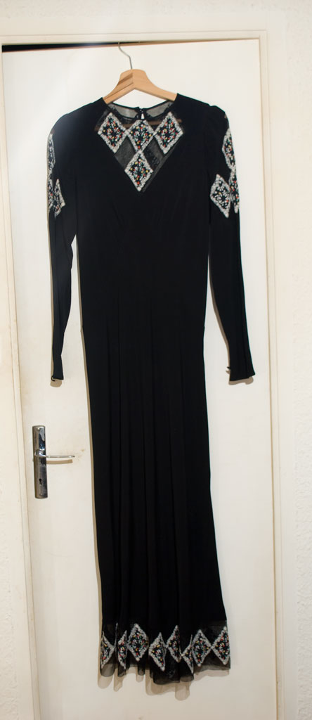 Pollier (great-grand-mother) — 1930s or 1940s rayon dress — Black