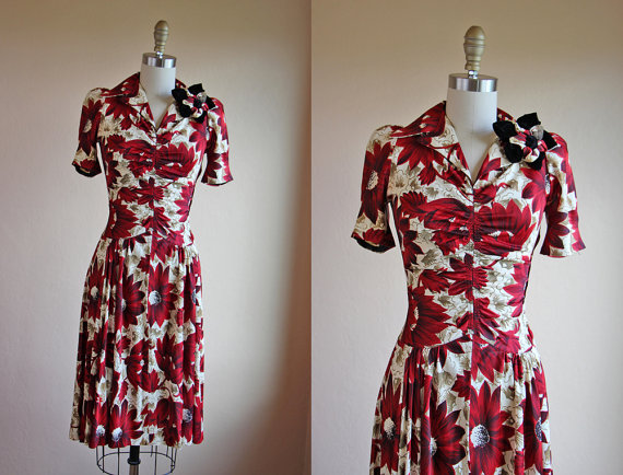 Jumblelaya — Late 1930s or early 1940s dress — Red Flowers