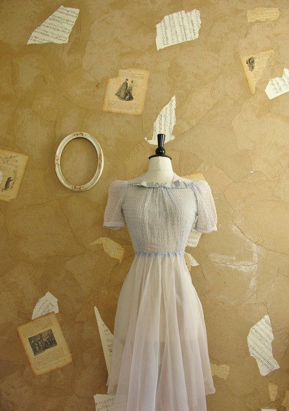 Very Vintage Store — Late 1930s or Early 1940s chiffon dress — Pale blue