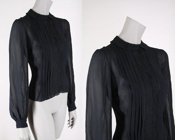 Floria Vintage — 1940s blouse — Black