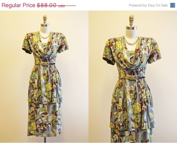 Jumblelaya — 1940s dress — Green & yellow