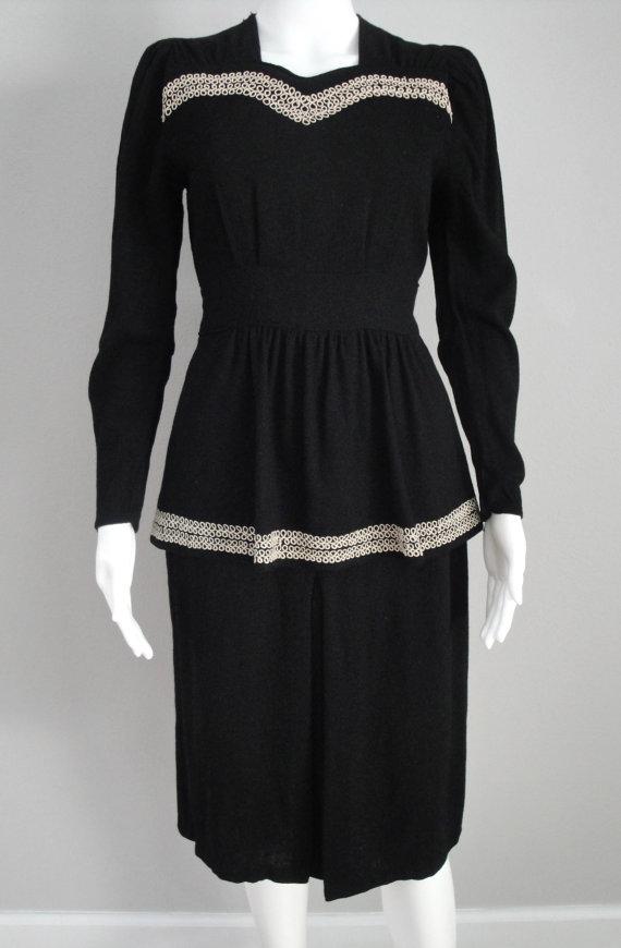 Little Stars — 1940s peplum wool dress — Black