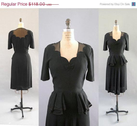 Wildfell Hall — 1940s scallop chiffon dress — Black