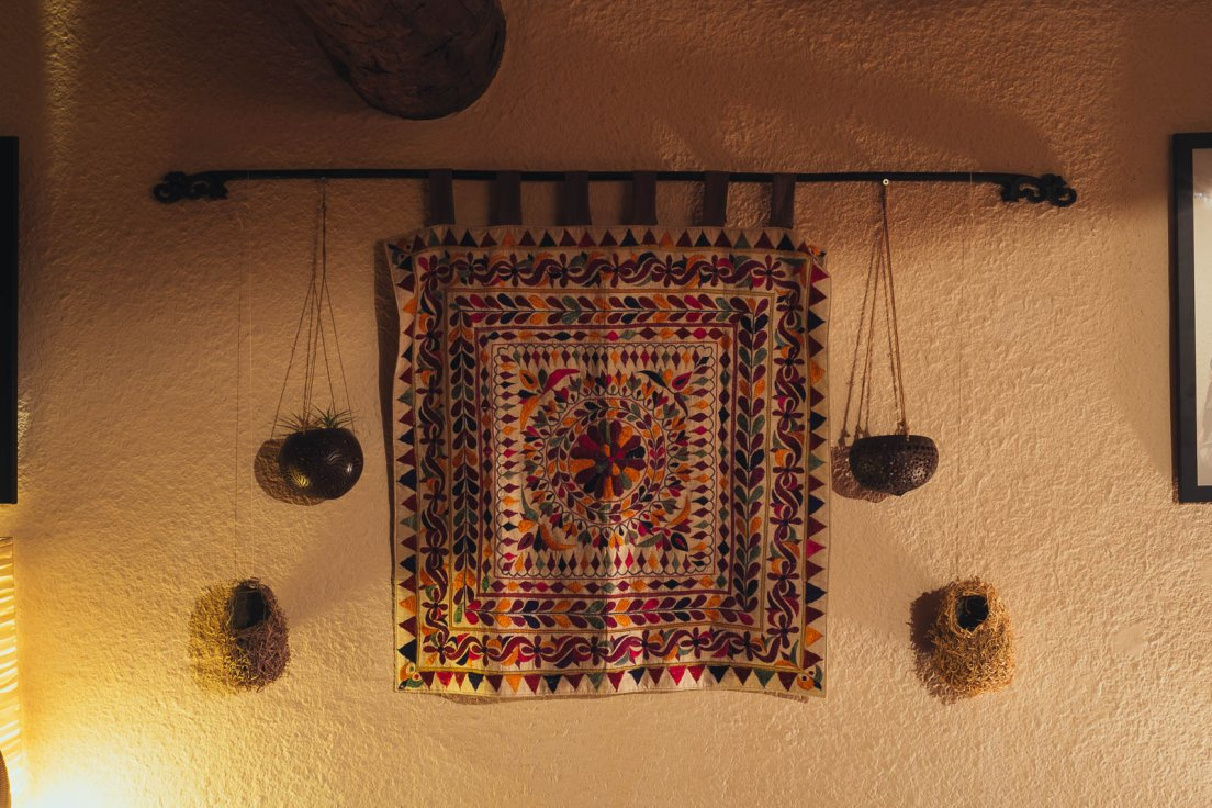 Right above my bed, a tapestry