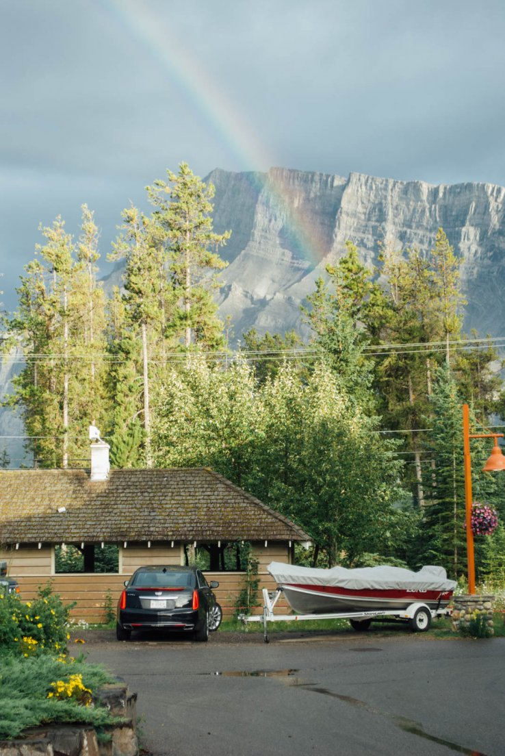 A rainbow over lodgings