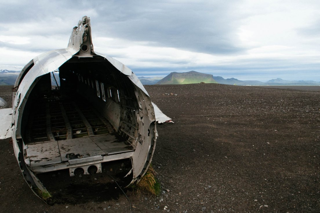Rear of the plane in a desert of black ashes, Crashed plane #030, Iceland, 29 july 2017
