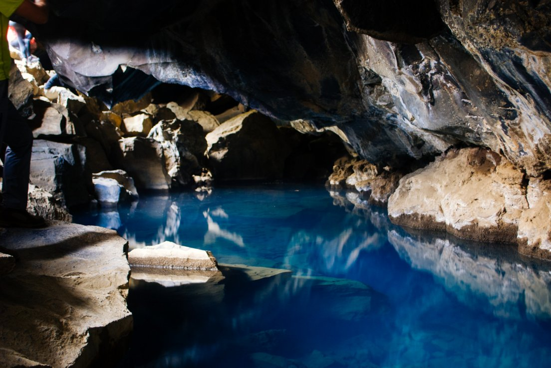 Subterranean azure hot pool that came to fame through an episode of the acclaimed HBO show Game of Thrones with characters Jon Snow and Ygritte, Grjótagjá cave #003, Iceland, 4 august 2017