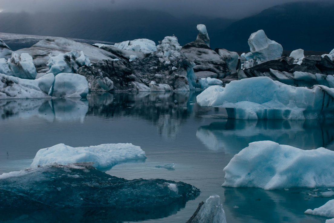 Landscape of icebergs upon a lake
