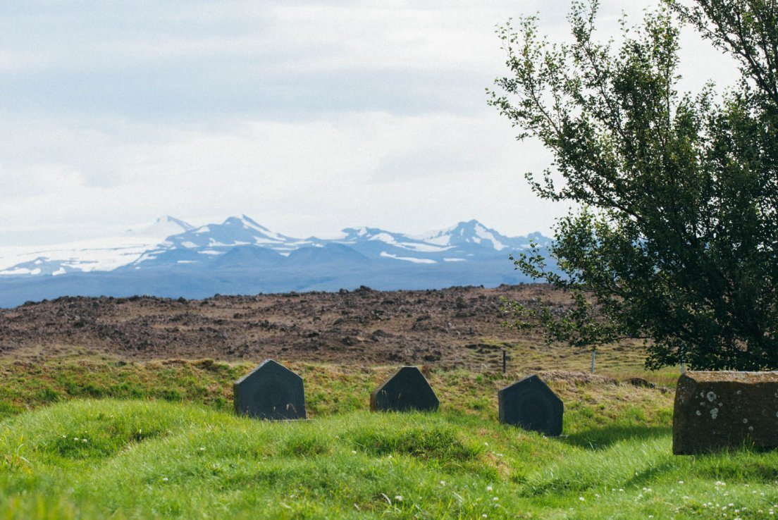 Likely bee hives in front of snowy mountains