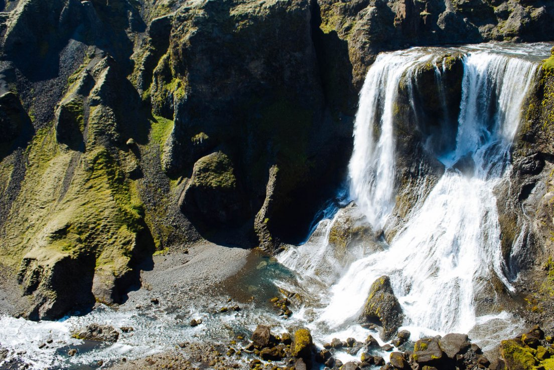 Upview of Fagrifoss waterfall