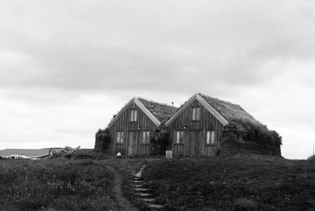 Black and white photograph of two adjoint houses with grass roofs