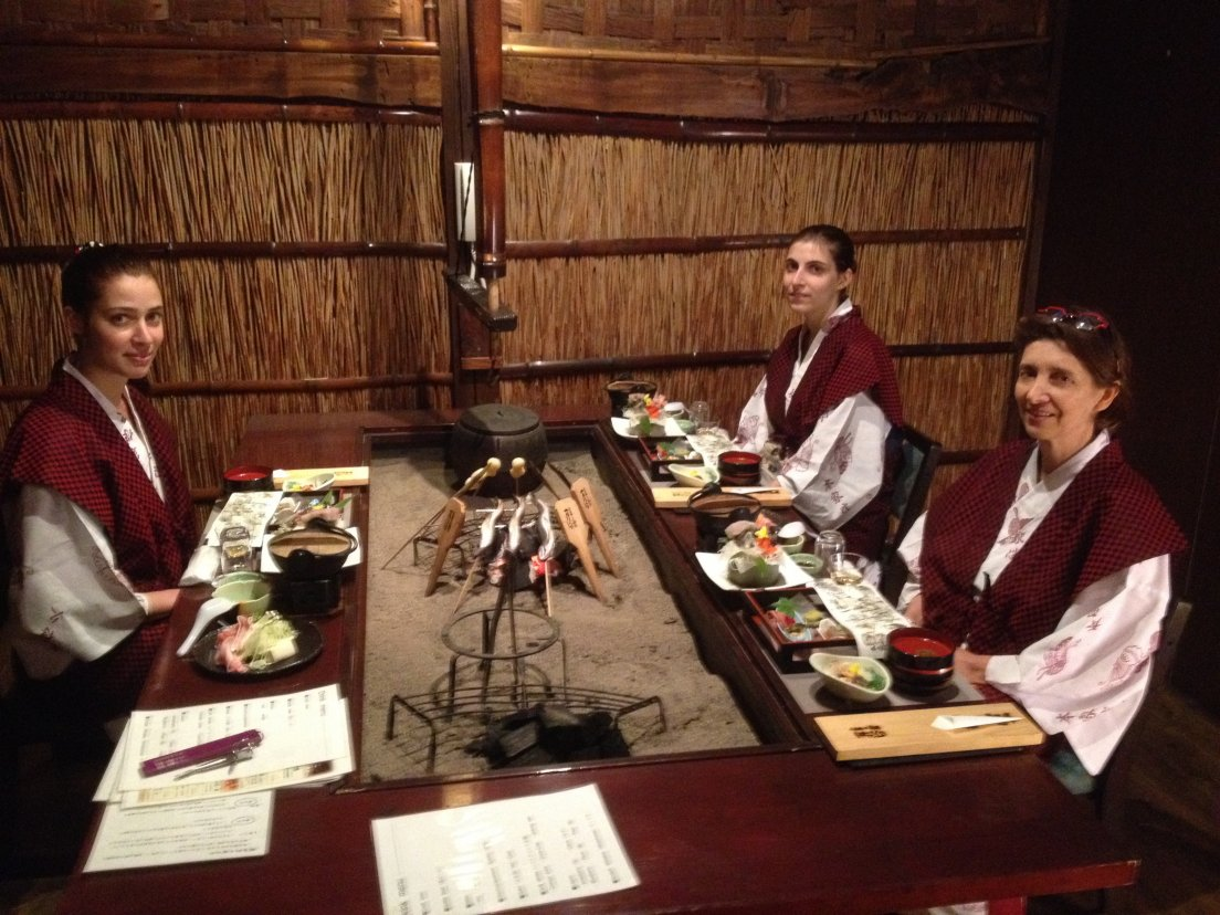 Traditional japanese dinner served to the ladies of a western family