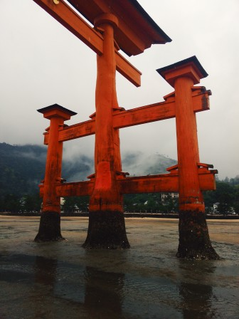 Close view of the great torii of Miajima on a rainy day