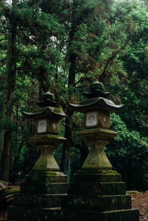 Landmarks of a traditional japanese temple area