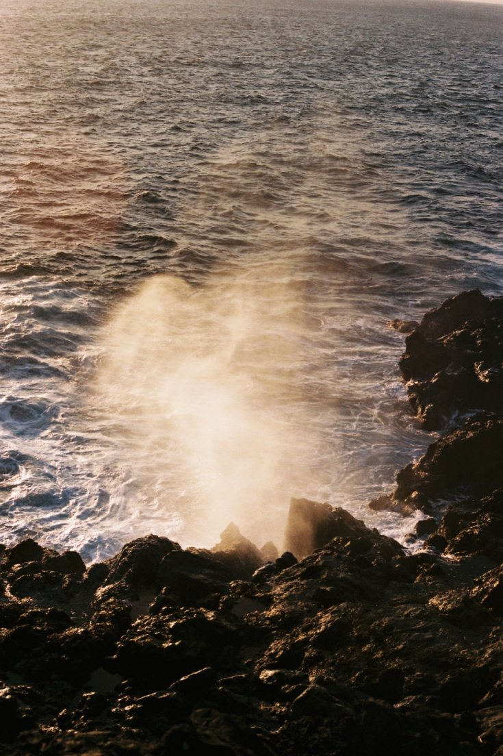 Blowhole by the name of Le Souffleur at sunset