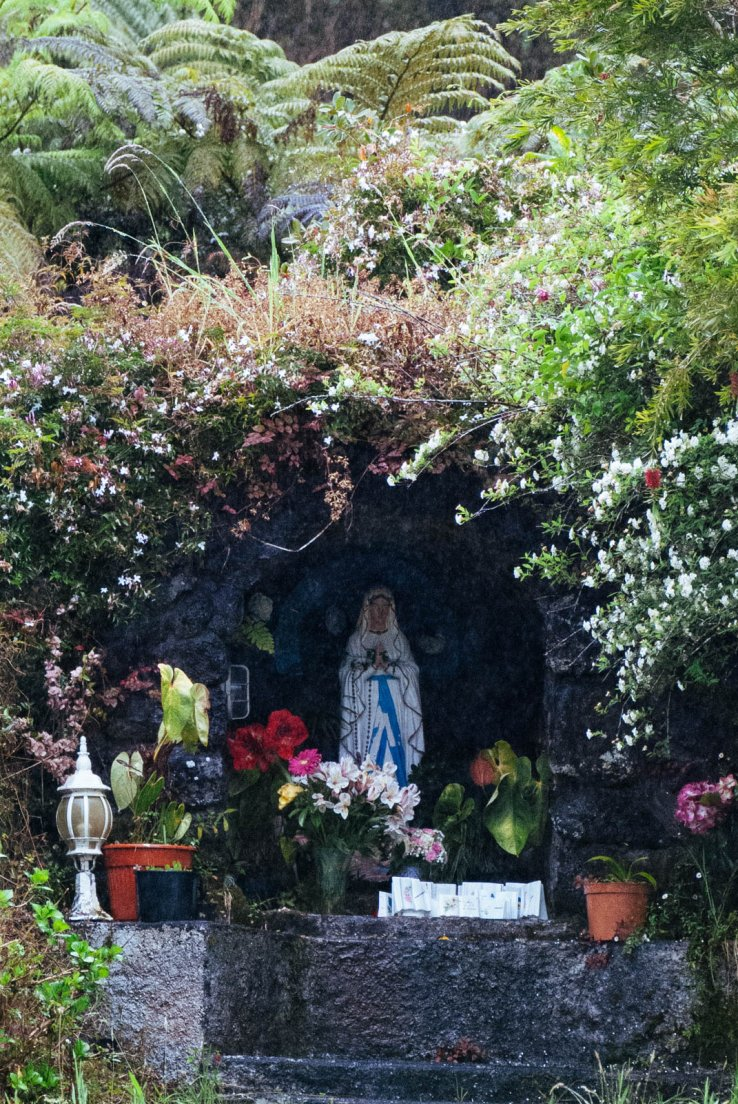 Virgin Mary shrine in the wilderness decorated with planted flowers