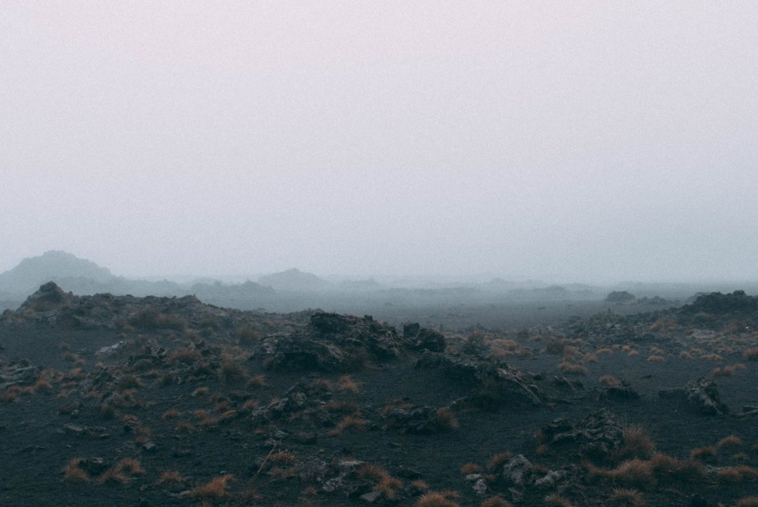 Foggy lava field at the Piton de la Fournaise