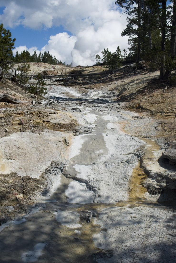 Whitened dry riverbed