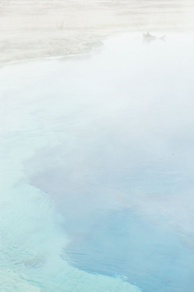 Steamy hot turquoise pool