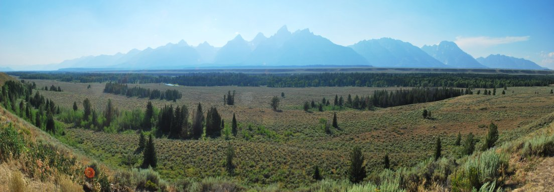 Panoramic view of Grand Teton and the other mountains