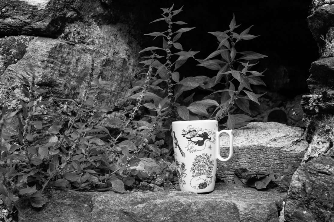 Black and white photograph of a mug from Enchanteresse, a collection of hand-painted porcelains by messalyn, with ruins and weeds in the background