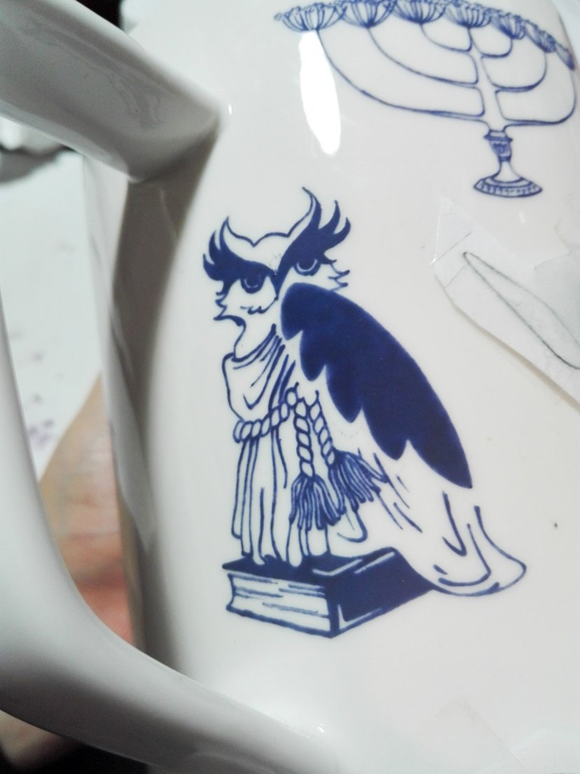 Blue owl detail with uncleaned lines from Enchanteresse, a collection of hand-painted porcelains by messalyn