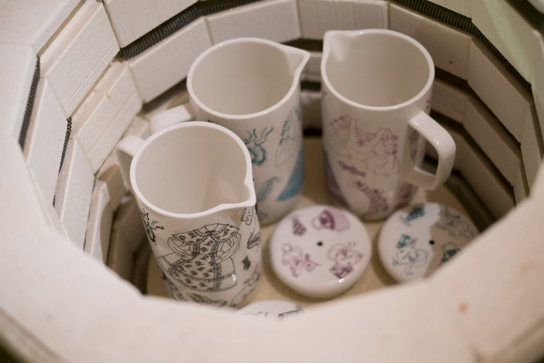 The 3 coffee pots in the kiln after firing