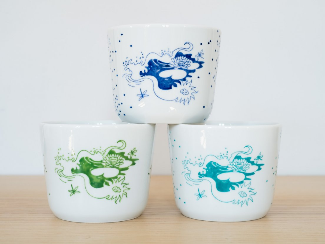 Front view of the three Nénuphar teacups actually in existence from Enchanteresse, a collection of hand-painted porcelains by messalyn, in blue, green and seafoam, oct. 2019