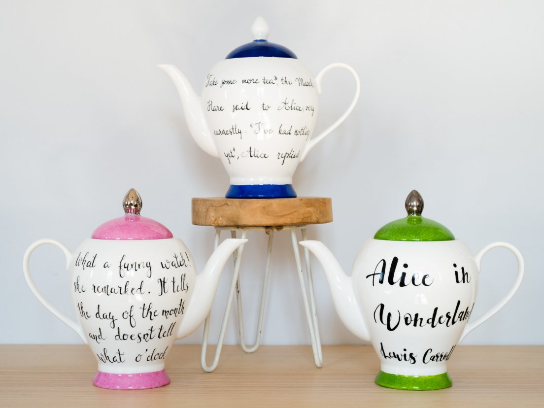 Trio of Alice in Wonderland teapots painted by Le Hibou Philosophe
