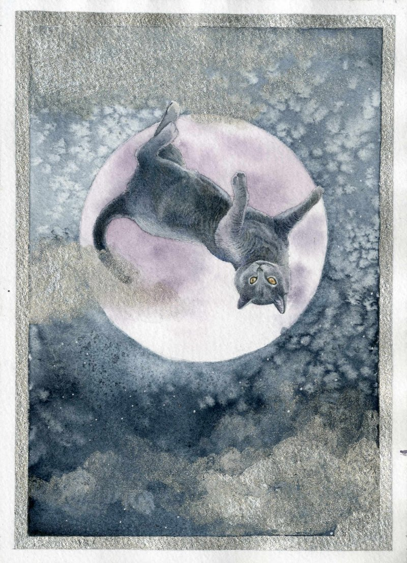 An original watercolour and silver metallic ink illustration by messalyn of a blue cat lounging upside-down on a purple moon