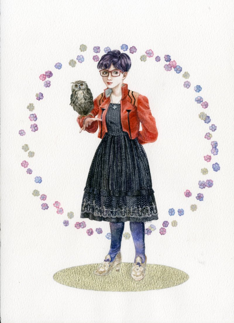An original watercolour and gold metallic ink illustration by messalyn representing a young lady with purple hair, wearing a Moi-Même-Moitié polka dot sundress, an Evangelion-themed jacket and holding an owl on her right arm