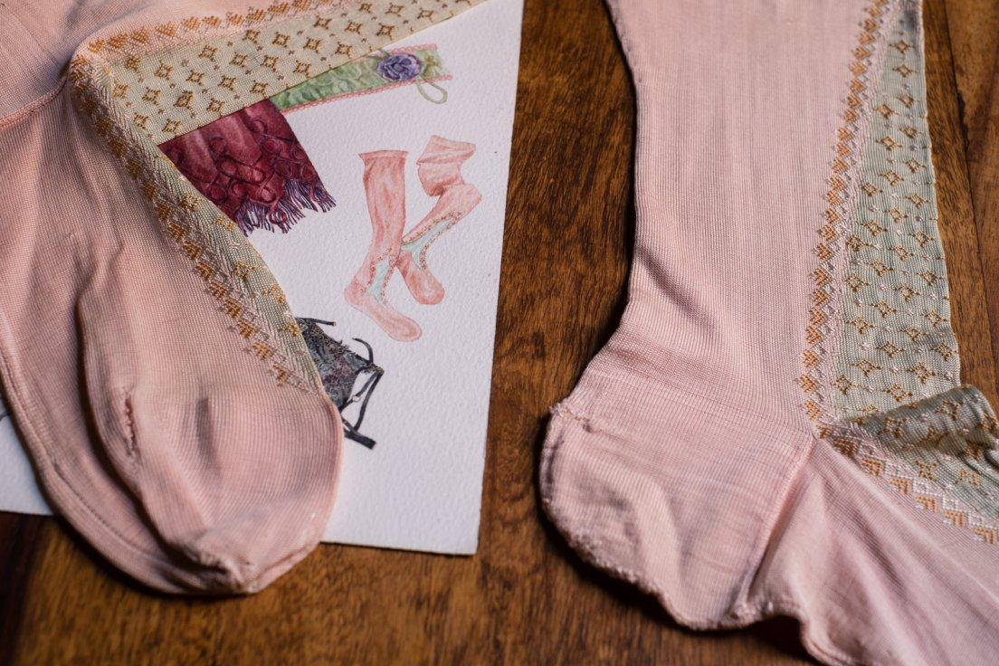 Detail of the 1920s stockings on the herbarium matched with the existing stockings that inspired them, although the design was tweaked when made into a watercolour