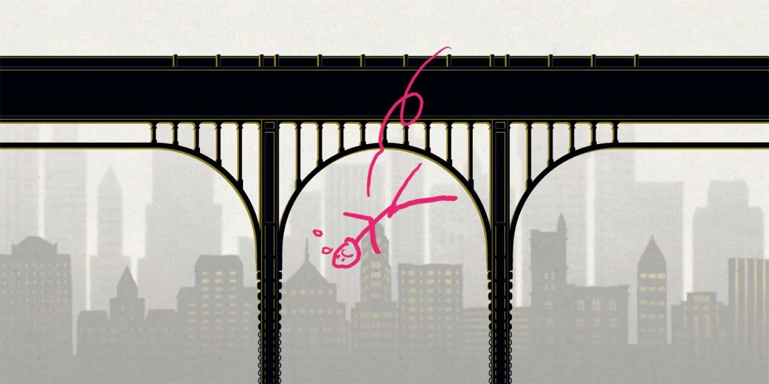 Cartoon of a stick figure jumping from the bridge in a website layout I made for francoisamoretti.com